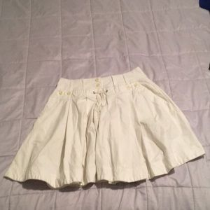 Anthropologie white denim nautical skirt